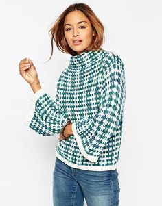 ASOS Jumper In Stitch Pattern With Wide Sleeve And High Neck