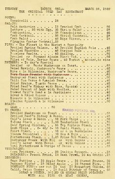 Read the Tadich Grill 1922 Menu and others discussion from the Chowhound Restaurants, San Francisco food community. Join the discussion today. Old Recipes, Vintage Recipes, Wine Recipes, Restaurant History, Vintage Restaurant, Restaurant Identity, Menu Restaurant, Vintage Menu, Vintage Ads