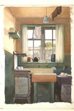 ◇ Artful Interiors ◇ paintings of beautiful rooms - Frank Taylor Lockwood The Scullery, 15 Dalston Road 1940