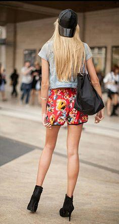 Denim + floral shorts
