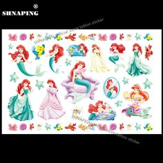 SHNAPIGN Lovely Mermaid Child Temporary Tattoo Body Art Flash Tattoo Stickers 17*10cm Waterproof Henna Tato Styling Wall Sticker #Affiliate