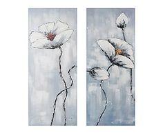 Set de 2 lienzos pintados a mano Flores - 50x120 cm