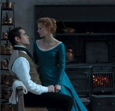 Flirting...Miss Bingley gets romantic... actually, it's Jessica Castain and Colin Farrell... but I love that dress...