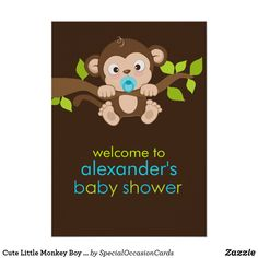 Shop Cute Little Monkey Boy Baby Shower Poster created by SpecialOccasionCards. Baby Shower Gifts For Boys, Boy Baby Shower Themes, Baby Boy Gifts, Baby Boy Shower, Monkey Nursery, Create Your Own Poster, Special Text, Thank You Stickers, Little Monkeys