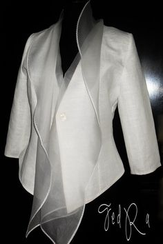 Linen jacket for woman linen blazer with organza collar White Basic linen Jacket…