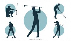 Silhouette set featuring male golfers in different postures. Powerpoint Free, Creative Powerpoint, Mo Design, Layout Design, Layout Template, Create A Logo, Silhouette, Magic Shop, Poster