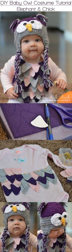 DIY Baby Owl Costume | elephantandchick I I love how simple and straight forward this tutorial is. Definitely making this for my baby tis Halloween!