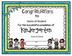 kindergarten completion certificates
