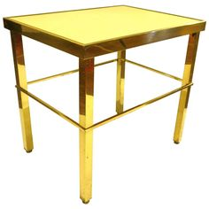 French Style Brass Petite Square Pipping with Laminate Top End Table