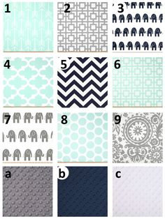 Mint Gray Navy Crib and Toddler Nursery and by ColorCornerShop, $20.00