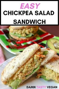 Chickpea salad sandwich recipe. Easy vegan and vegetarian lunch idea. Minimal ingredients and quick to make. Great to take with you to work or school. #vegan #vegetarian #lunchidea Easy Vegan Lunch, Vegan Lunches, Vegan Meal Prep, Vegetarian Lunch, Vegetarian Recipes, Bag Lunches, Work Lunches, School Lunches, High Protein Vegan Recipes