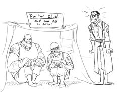 """epicukulelesolo: """"""""I'm only healing you two with the crossbow from now on"""" Medic technically isnt a doctor anymore (stealing someones skeleton will do that) but both Heavy and Engie have PhD's and rub. Tf2 Funny, Funny Comics, Funny Jokes, Team Fortress 2 Medic, Valve Games, Tf2 Memes, Team Fortess 2, Best Games, Overwatch"""