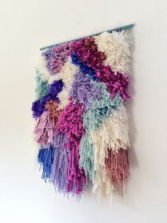 Furry Electric Candy Fields // Handwoven Tapestry Wall by jujujust