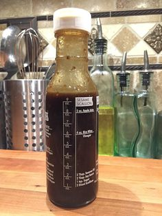 I have a bottle of homemade balsamic vinaigrette in the fridge at all times. Kinds Of Salad, Coffee Bottle, Vinaigrette, Craft Beer, Homemade, Canning, Philosophy, Salads, Times