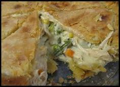 Campfire Chicken pot pie 4-6 Whole Boneless Chicken Breast (or chicken of choice) 1 Cream of Chicken, Mushroom or Broccoli Soup 1/2 c water or milk 1 Can Mushrooms 2 Bags of Califlower, Broccoli and Carrots (frozen vegetable mix) 1 large onion Olive Oil Butter Salt & Pepper (or seasoning of choice)  http://koa.com/camping-recipe/campfire-chicken-pot-pie/