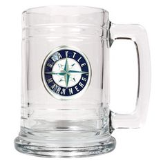 WeddingDepot.com ~ MBL Mariners Mug with Pewter Medallion ~ He'll cheer on his favorite Mariners sluggers while he enjoys a cold one in our sturdy Officially Licensed Personalized MLB emblem mug.