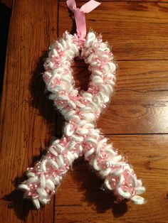 breast cancer awareness candy wreath by Sarah