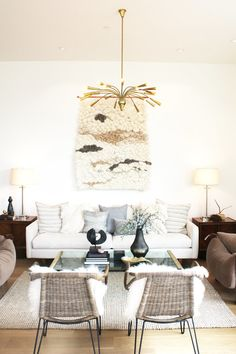 Eclectic living room with neutral colors