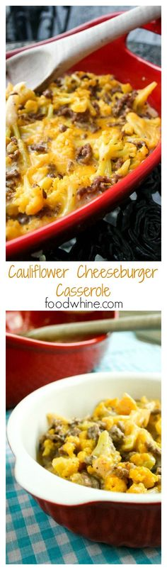 Cauliflower Cheeseburger Casserole** I used seasoned flank steak instead of hamburger meat** Cauliflower Cheeseburger Casserole. Also low in carbs, if you care about that sort of thing. New Recipes, Low Carb Recipes, Cooking Recipes, Favorite Recipes, Healthy Recipes, Casseroles Healthy, Pork Recipes, Fall Casseroles, Recipies