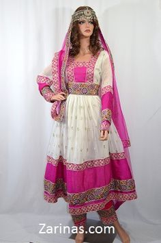 Made from a simple, White chiffon fabric, and decorated with a gorgeous sequined pattern on the skirt and sleeves. Fitted at the waist, comes with an adjustable belt. Includes an alluring silhouette, with loose sleeves and skirt, a defining feature of traditional Afghan clothing. The embroidered pattern is intricate and stylish, decorated with mirrors and trimmed with lovely beads. Sleeves and skirt are see through and contain a slip underneath. Comes with a matching headscarf and pants.