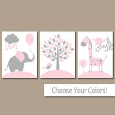 PINK GRAY Nursery Wall Art, CANVAS or Prints, Baby Girl Nursery Decor, Elephant Giraffe Tree, Jungle Safari Animals, Set of 3 Crib Artwork