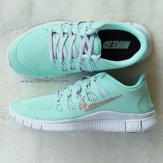 Mint Green Nike Shoes Embellished with Swarovski Crystal Rhinestones from GlitterFix.com