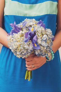 hydrangea and iris bouquet.