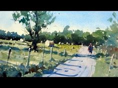 How to paint a rural scene and composition tips - Watercolor demo by Tim...