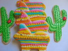 Pinata's and Cactus Cookies by TreatsbuyTerri on Etsy https://www.etsy.com/listing/202931866/pinatas-and-cactus-cookies