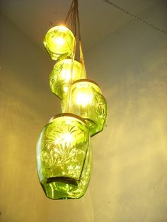 Spring Mornings Moss Green Glassware Natures Woodlands Splendor Swag Summer Nights Chandelier Hanging Pendant Lighting Fixture Lights - UpCycled ReCycled Swag Light - Wedding - Party - Holiday