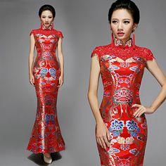 Red Fishtail Cheongsam / Qipao Dress with Dragon Pattern