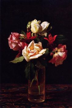 """""""Still LIfe with Roses and Fuchsia"""", Oil On Canvas by George Cochran Lambdin (1830-1896, United States)"""