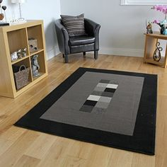 Milan Soft Modern Black  Grey Border Rug 777H51  511 x 810 *** You can get more details by clicking on the image.