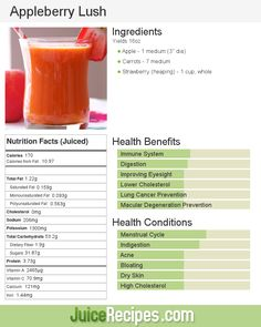 If you're a juicing newbie, you can't go wrong with Appleberry Lush juice. Apples, carrots, and strawberries. Don't let the carrots fool you, this juice is sweet! Best Detox Diet, Detox Diet Drinks, Healthy Juice Recipes, Juicer Recipes, Healthy Juices, Healthy Smoothies, Healthy Drinks, Detox Juices, Cleanse Recipes