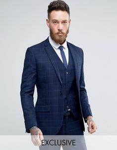 ASOS WEDDING Slim Suit in 100% Wool In Indigo. See more. Only & Sons Super  Skinny Suit In Navy Textured Check