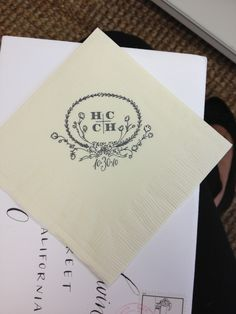 our holly hollon wedding logo on cocktail napkins