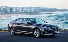 Download wallpapers 4k, Hyundai Sonata, coast, 2018 cars, road, new Sonata, Hyundai