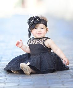 Love this Black Lace-Trim Sweetheart Dress - Infant, Toddler & Girls on #zulily! #zulilyfinds