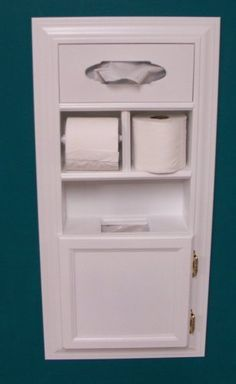(MPU-1) Recessed Solid Wood Bathroom In the Wall Trash Can Toilet Paper Holder Tissue Kleenex Dispenser Multipurpose Unit, Enamel Finish, Holds Spare Roll Also, Uses Standard Small Garbage Bags by WG Wood Products, http://www.amazon.com/dp/B000E8OXZ6/ref=cm_sw_r_pi_dp_WOUcrb0ZHK6C7