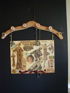 3 of my favorite things... vintage wood clothes hanger, spools, and necklaces!
