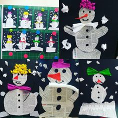 Yesterday these adorable snowmen were made from newspaper. Diy And Crafts, Crafts For Kids, Arts And Crafts, Cute Snowman, Woodland Party, Winter Wonderland, Preschool, Christmas Gifts, Kids Rugs