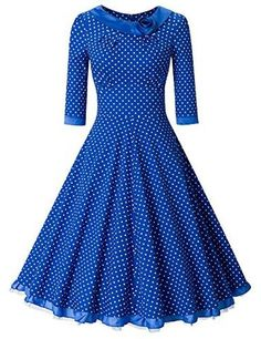 MUXXN Women's Rockabilly Sleeve Swing Vintage Dress (L, Blue Dot) Super classic and formal feel The scoop neck is lined with a black satin and a satin rose Suitable for any occassions Imported PLS see the size information in product description Vintage 1950s Dresses, Vintage Outfits, 1960s Dresses, Rockabilly Wedding Dresses, Retro Fashion, Vintage Fashion, Shweshwe Dresses, Plus Size Prom, African Traditional Dresses
