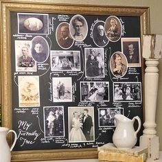 DIY Family Tree Chalkboard - Decorating with Pictures by Your Homebased Mom Foto Fun, Heritage Scrapbooking, Family Genealogy, Decorating With Pictures, Family Memories, Meaningful Gifts, Photo Craft, Photo Displays, Family History