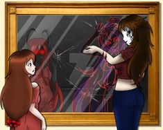 Here, Nemesis is talking to Lazari, who is still troubled by her 'monster' ha. Creepypasta: The Other Side of the Mirror Lazari Creepypasta, Creepypasta Girls, Creepypasta Slenderman, Creepypasta Characters, Scary Stories, Horror Stories, Animes Yandere, Wattpad, Funny Animal Memes