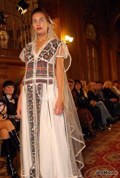embroidered wedding dress in Ukrainian ethnic style