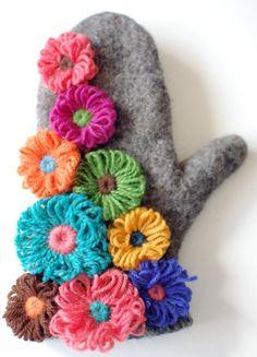 yarn flowers (handmade mittens $168)