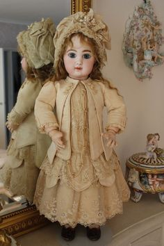 Beautiful French doll dress on ebay ending Saturday. 1880's antique silk & lace ~ very nice work by this lady. GORGEOUS HAUTE COUTURE DOLL DRESS AND HAT FOR AT,JUMEAU,BRU, STEINER,ETC.