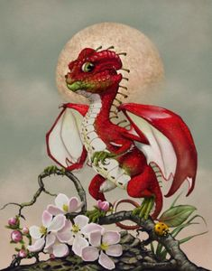 A beautiful apple dragon with apple blossom accents and a tiny lady bug. Part of artist Stanley Morrison's whimsical garden dragon series. Fantasy Dragon, Fantasy Art, Dragon Series, Oracle Tarot, Dragon Artwork, Field Guide, Walking In Nature, Custom Posters, Traveling By Yourself