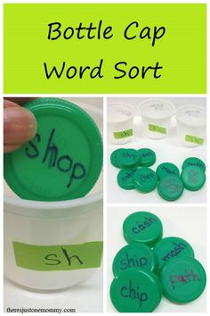 Bottle Cap Word Sort Game simple word sort activity with plastic bottle caps Spelling Activities, Sorting Activities, Reading Activities, Phonics Games Year 1, Physical Activities, Jolly Phonics Activities, Sorting Games, Spelling Games, Abc Games