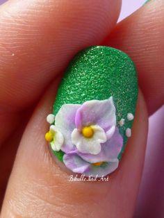 Bibulle Blog Nail Art: Nail art pelouse synthétique et ses fleurs de sucre - Nail Art 3D...